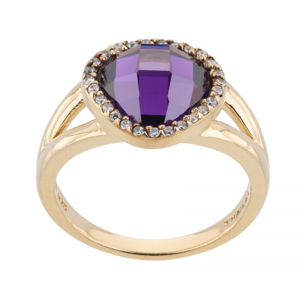Argenti 14k Gold over Sterling Silver Simulated  Amethyst Pave Halo Ring