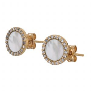 Argenti 14k Yellow Gold Plate, Genuine Mother of Pearl, and Simulated diamond stud earrings
