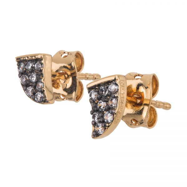 Argenti 14k Yellow Gold Plate & black Rhodium Simulated Diamond Pave Tusk Stud earrings