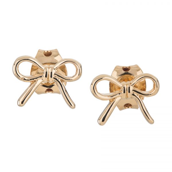 Argenti 14k Yellow Gold Plate three demensional Bow stud earrings