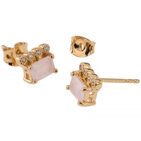 Argenti 14k Yellow Gold Simulated Diamond and Simulated Rose Quartz Stud Earrings