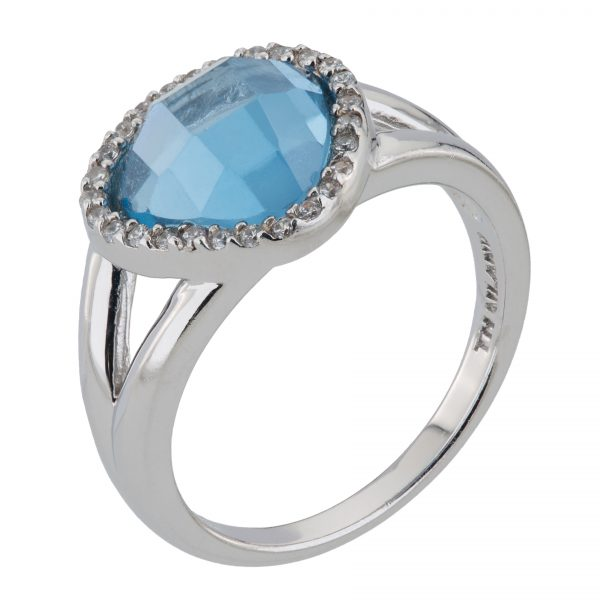 Argenti Sterling Silver Simulated  Blue Spinel Pave Halo Ring