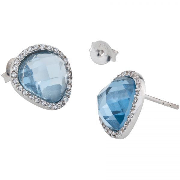Argenti Sterling Silver Simulated Sky  Blue Spinel Pave Halo Stud Earrings