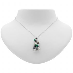 Argenti Freshwater Green Agate and Pearl Clustered Necklace