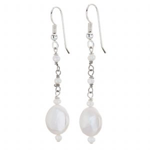 Argenti Freshwater Pearl Coin Drop Earrings