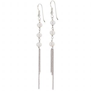 Argenti Freshwater Pearl Drop Chain Earrings