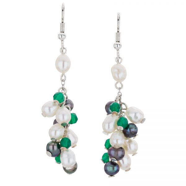 Argenti Green Agate and Freshwater Pearl Drop Clustered Earrings