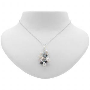Argenti Iolite and Freshwater Pearl Clustered Necklace