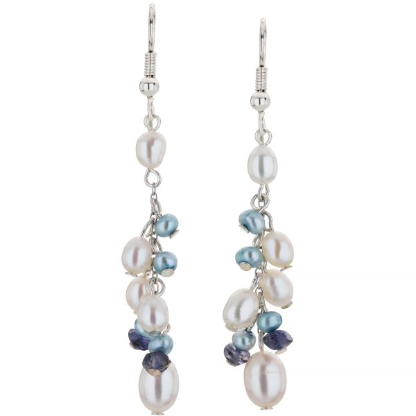 Argenti Iolite and Freshwater Pearl Drop Clustered Earrings
