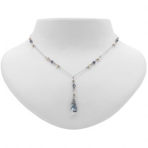 Argenti Iolite and Freshwater Pearl Y Necklace