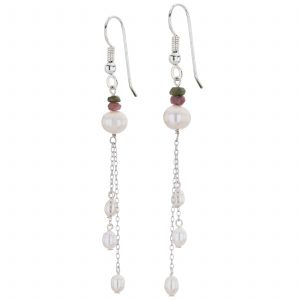 Argenti Tourmaline and Freshwater Pearl Drop Earrings